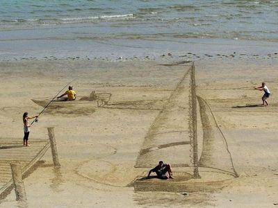 3D на пляже. художник джейми харкинс