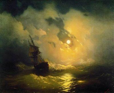 Буря на море ночью, айвазовский