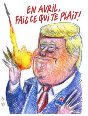 Charlie hebdo карикатура на трампа с ракетой