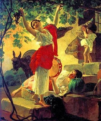 Девушка, собирающая виноград - карл брюллов