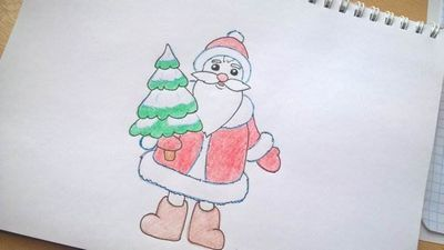Как нарисовать деда мороза поэтапно карандашами