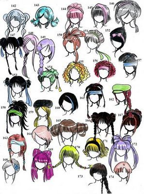 Как рисовать аниме волосы