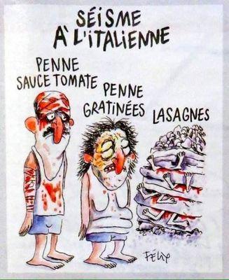 Карикатура charlie hebdo на землетрясение в италии