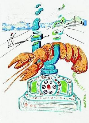Телефон-омар — скульптура сальвадора дали с трубкой